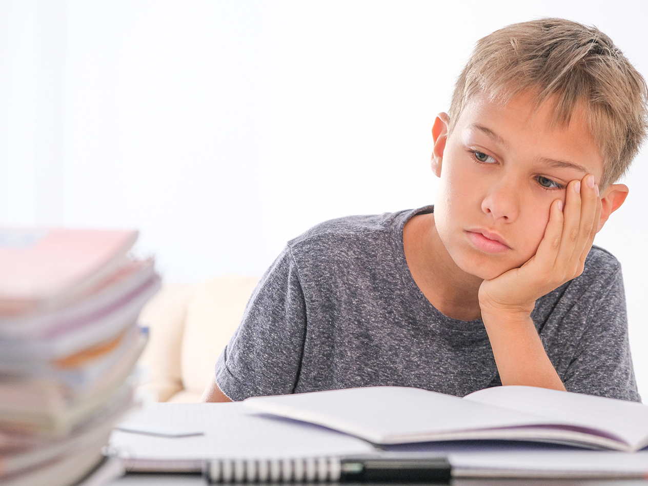 How Distance Learning is affecting Special Education, image of kid upset working on homework